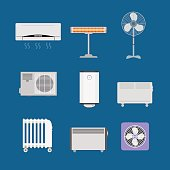 Cartoon Heating Devices Color Icons Set. Vector