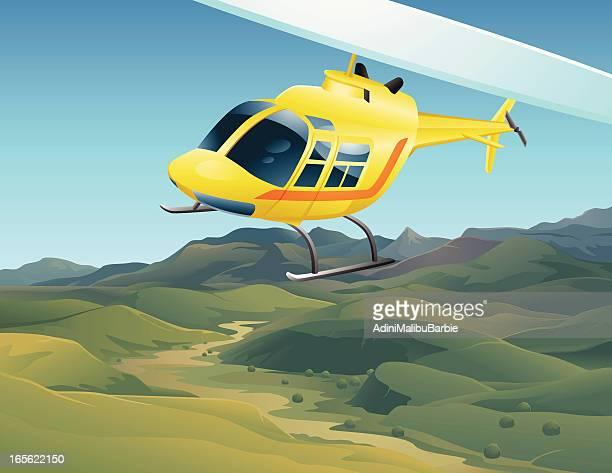 ilustraciones, imágenes clip art, dibujos animados e iconos de stock de helicóptero de historieta volando sobre el paisaje del valle - valle