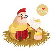 Cartoon hen and chick reading a book