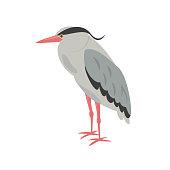 Cartoon heron icon on white background.