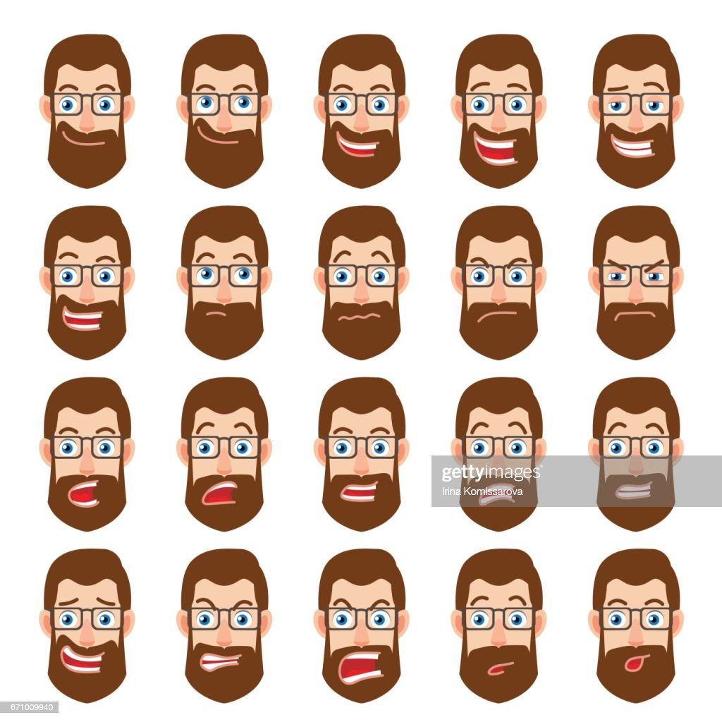 Cartoon Hipster Businessman Character. Different facial expressions