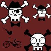 cartoon hipster skull fashion set2