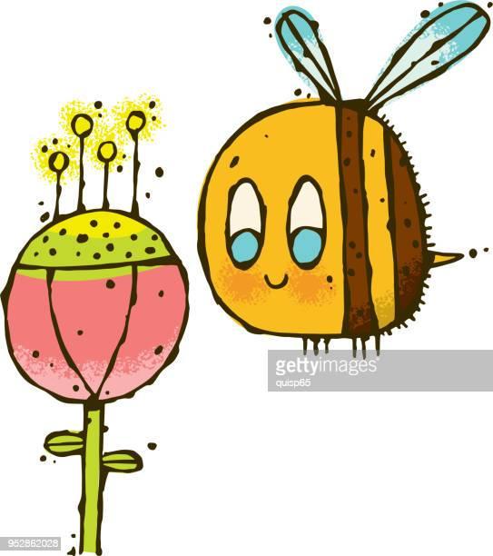 Cartoon Honey Bee with a Flower
