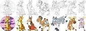 cartoon hoofed animals set