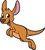 Cartoon Hopping Kangaroo Vector Illustration