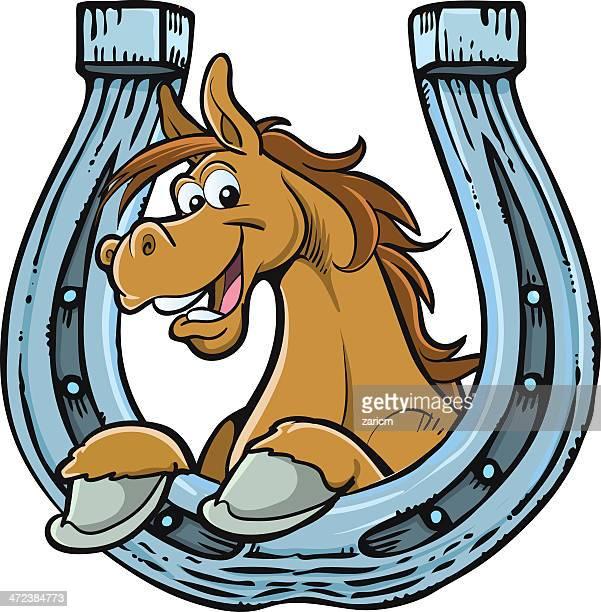 cartoon horse resting on horseshoe - animal mane stock illustrations, clip art, cartoons, & icons