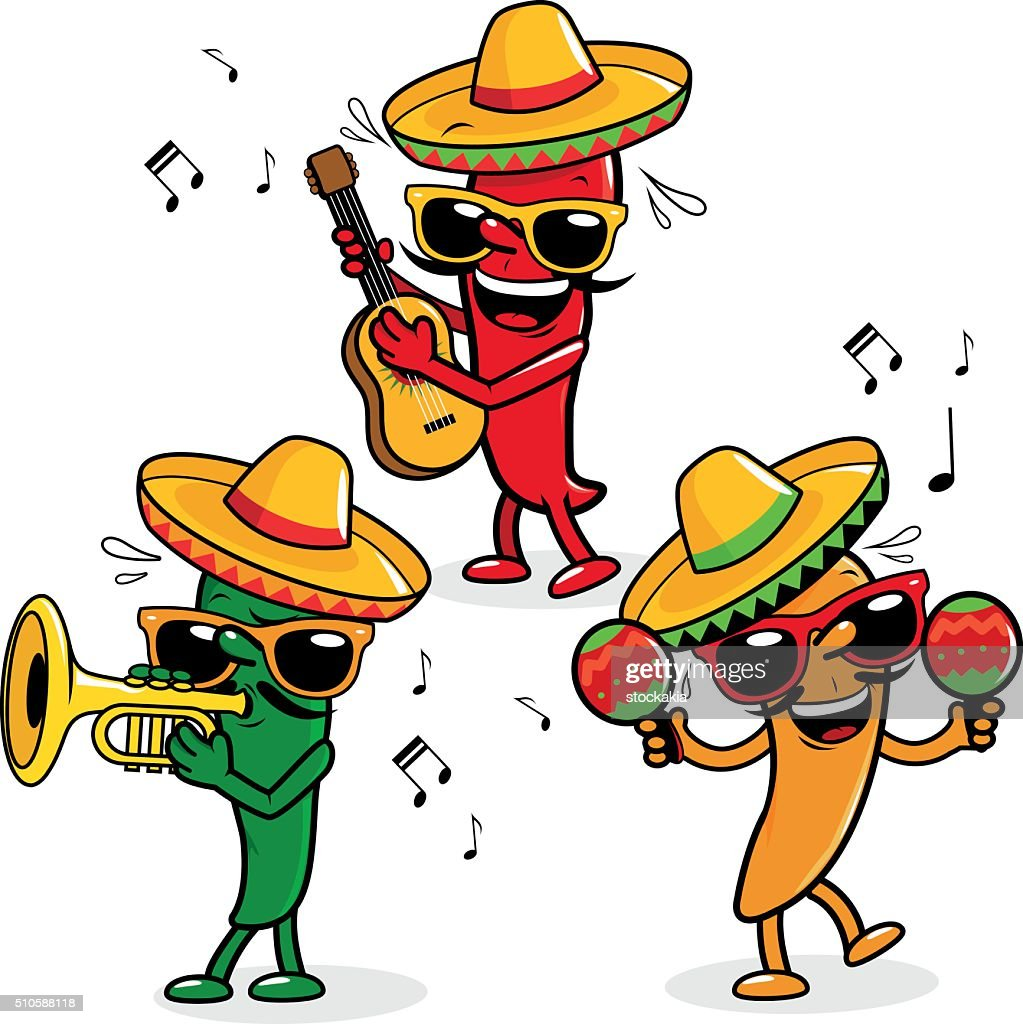 Cartoon hot mariachi peppers