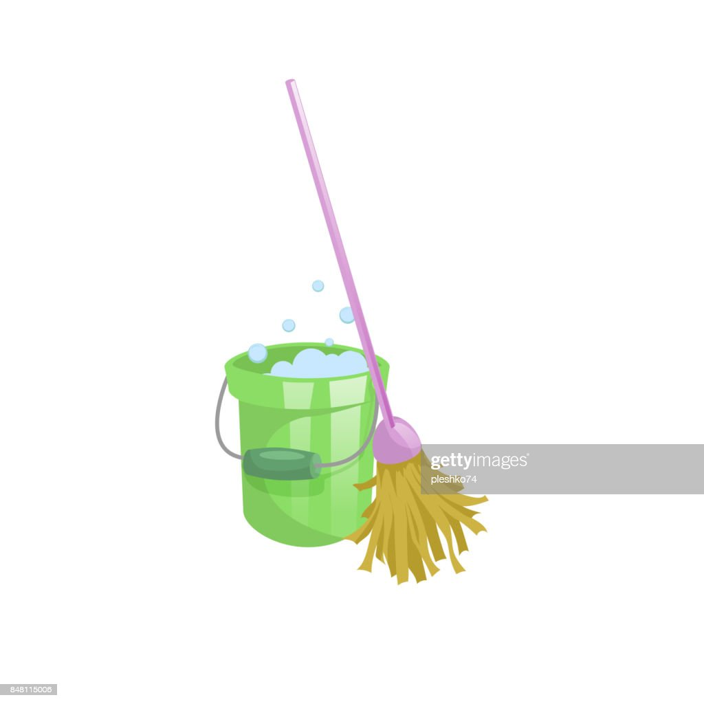 Cartoon House And Apartment Cleaning Service Icon Old Dry Mop With Handle Green Plastic Bucket Bubbles Simple Colors Gradient Vector