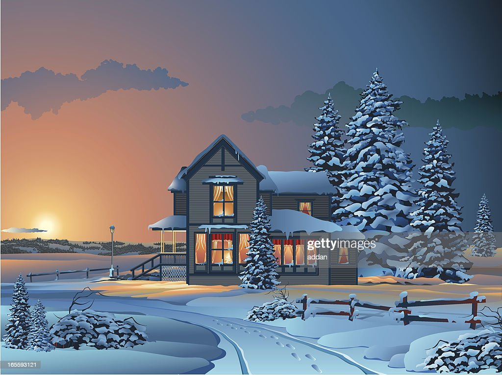 Cartoon House and Trees Covered in Snow at Sunset