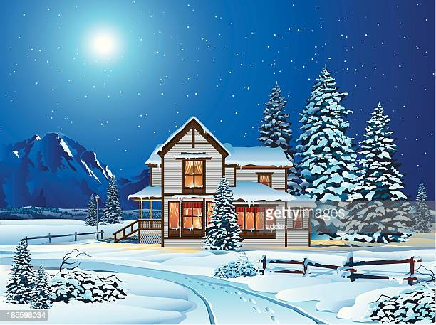 Cartoon House Covered in Snow at Night