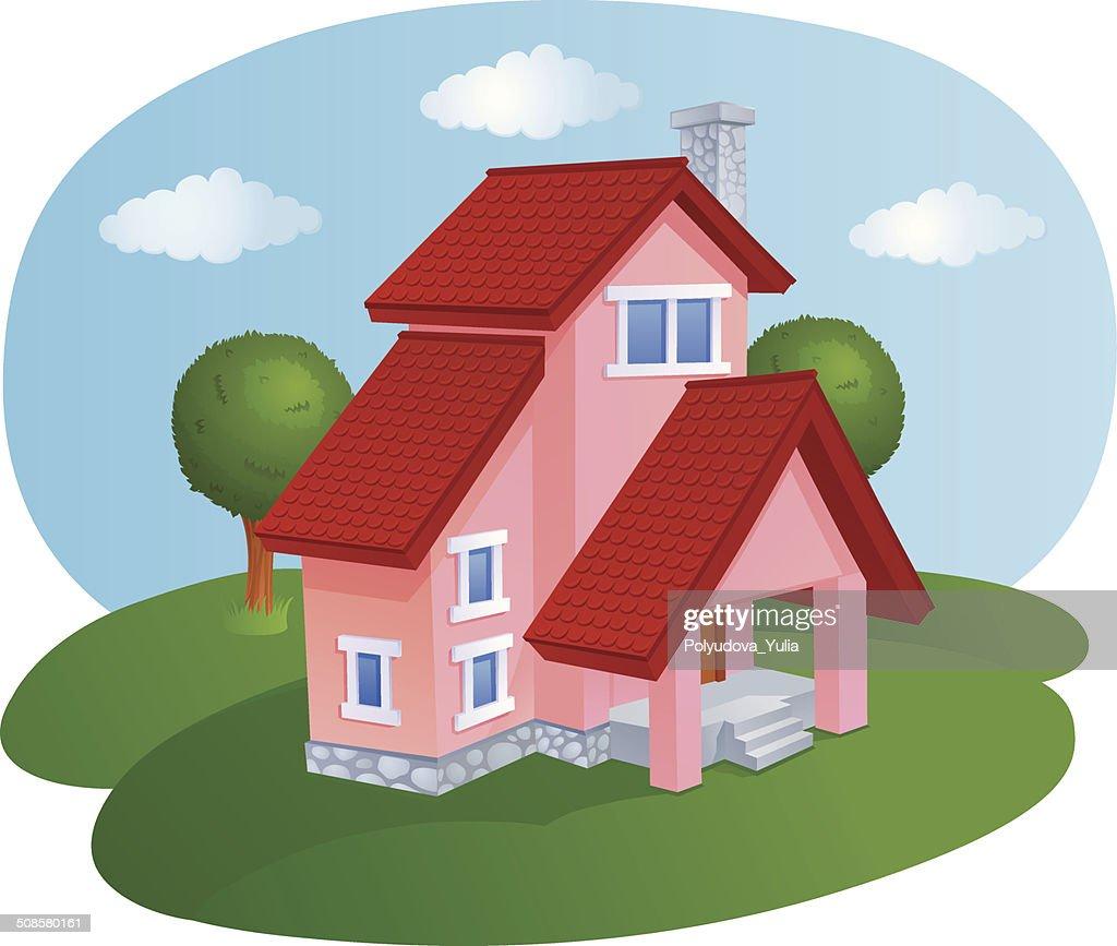 Maison de dessin animé avec un toit carrelé : Clipart vectoriel