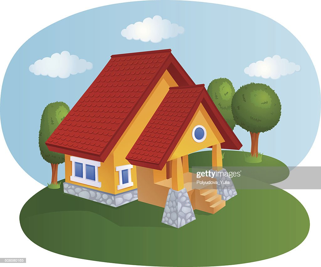 Cartoon house with a tiled roof : Vector Art