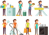 Cartoon housewife in housework activity vector set. Happy woman performing household