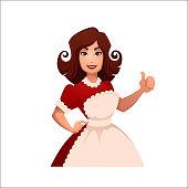 cartoon housewife, retro woman  vector illustration