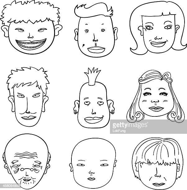 Cartoon Human faces in black and white