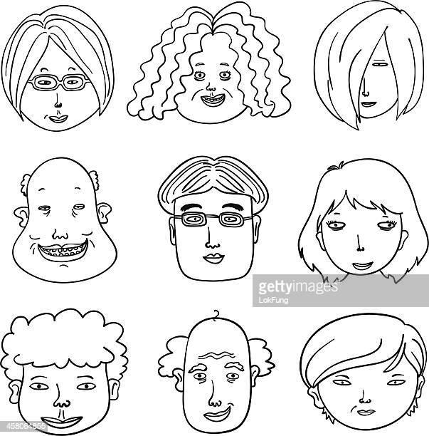 カットイラスト、人間の顔にはブラックとホワイト