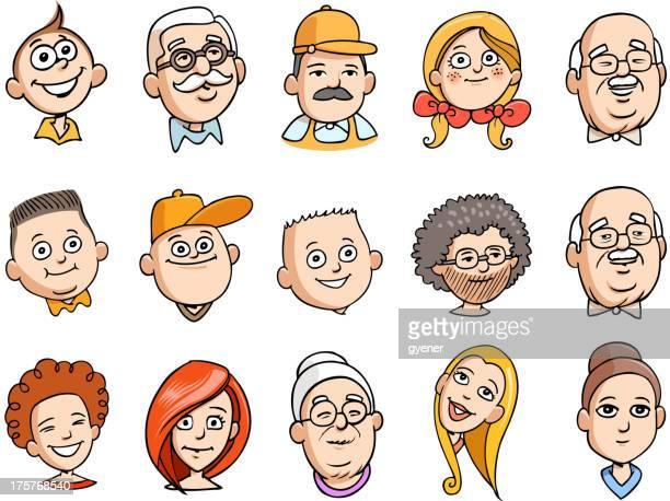 bildbanksillustrationer, clip art samt tecknat material och ikoner med cartoon human faces - aunt