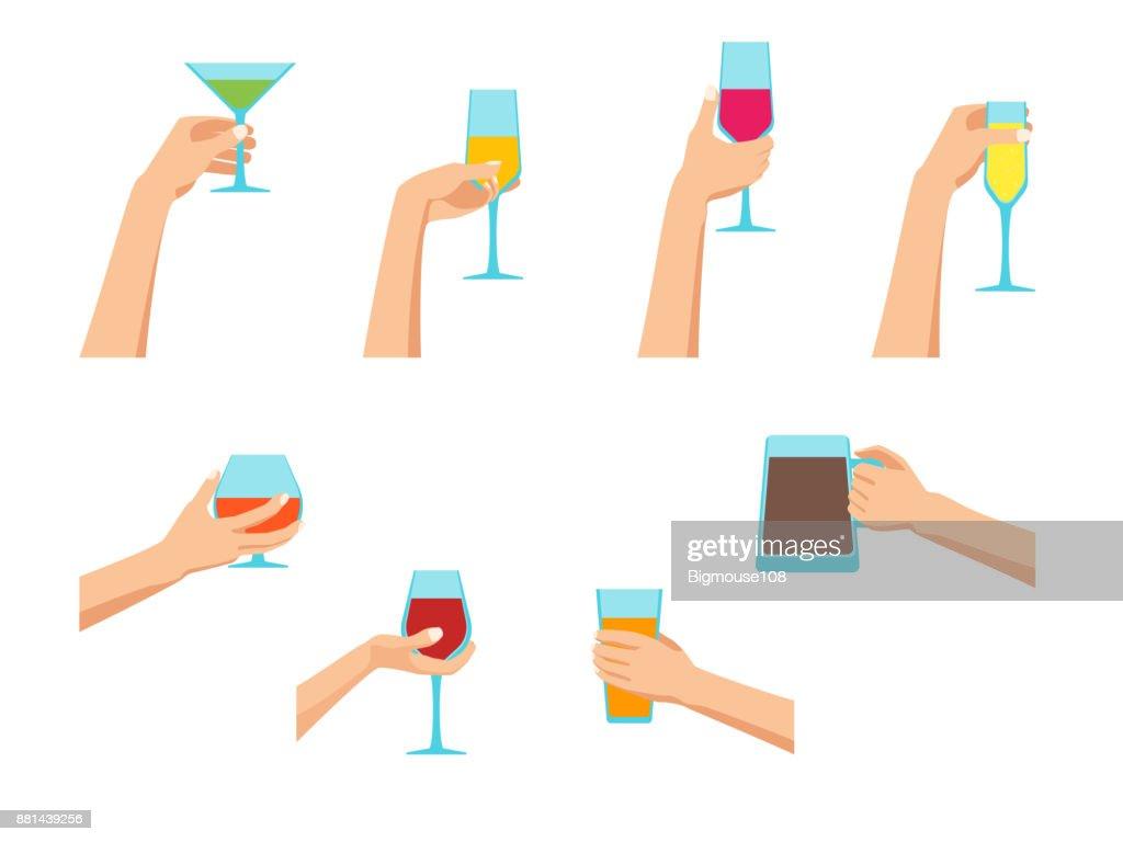 Cartoon Human Hands Holding Glasses Set. Vector