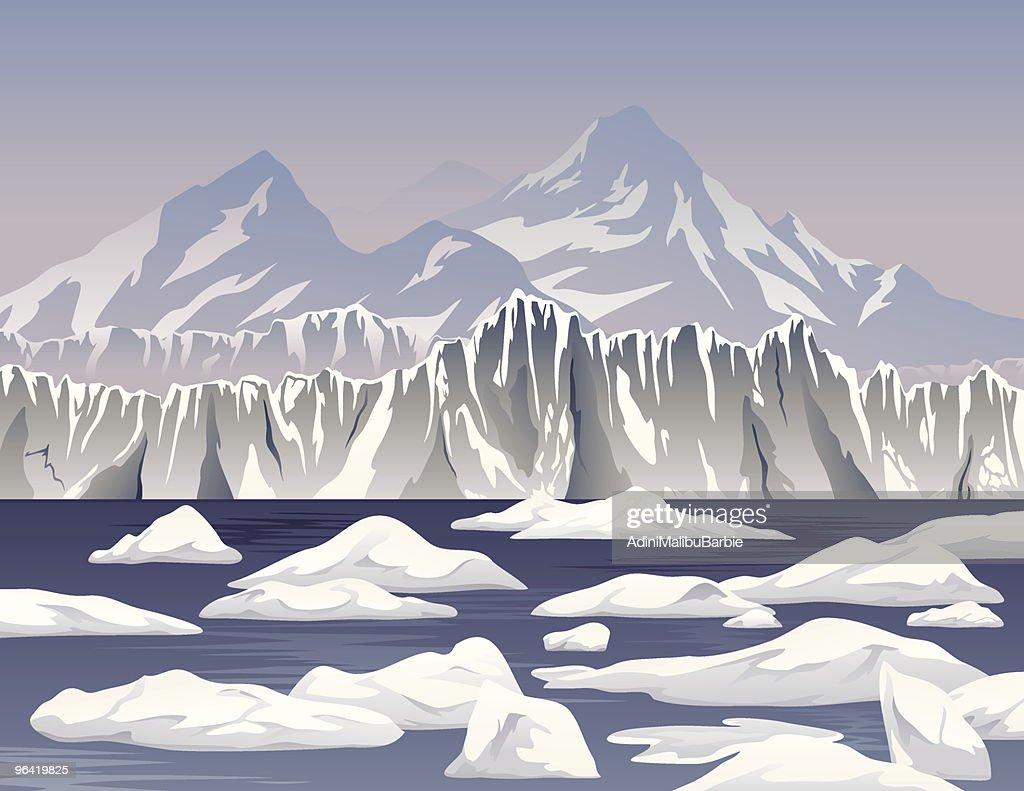Cartoon Icebergs and Ice Shelf