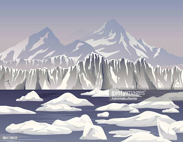 Cartoon Icebergs and Ice Shelf
