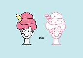 Cartoon icon of woman with soft ice cream hair