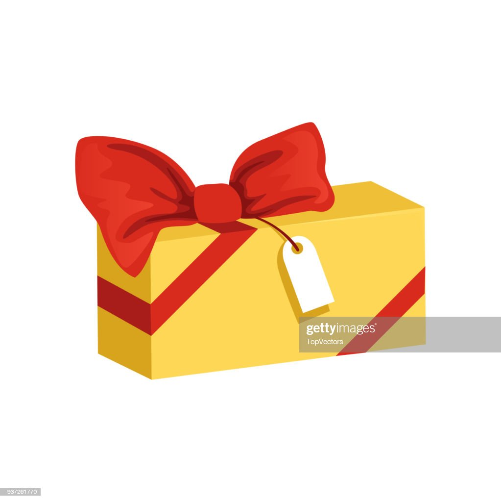 Cartoon icon of yellow rectangular gift box with big red bow and tag. Present for holiday. Happy Birthday theme. Flat vector element for party invitation or postcard