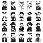 Cartoon icons of men representing different professions