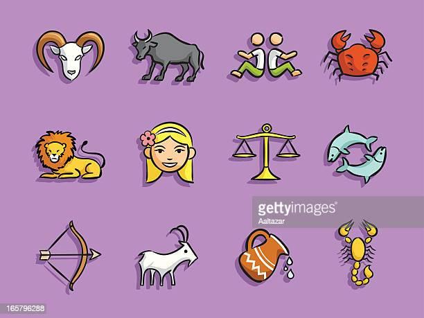 cartoon icons - zodiac - cartoon cancer stock illustrations