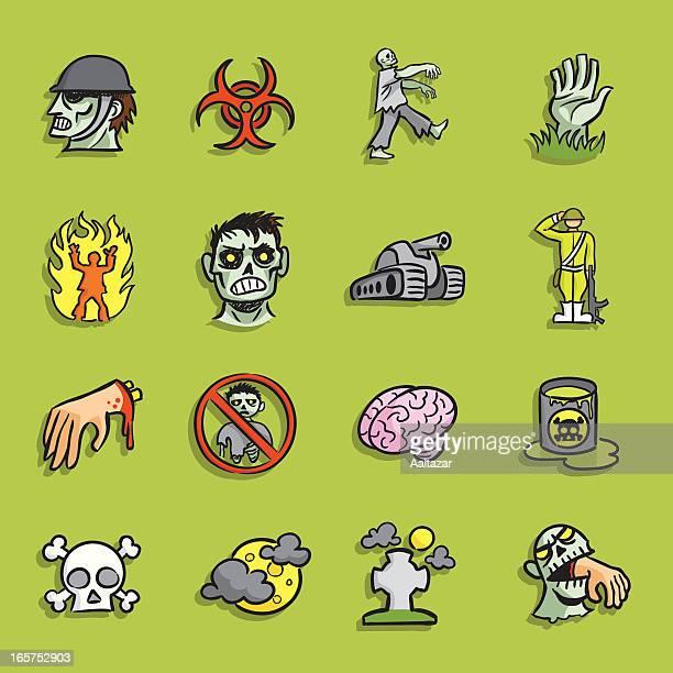 cartoon icons - zombie infestation - infestation stock illustrations, clip art, cartoons, & icons