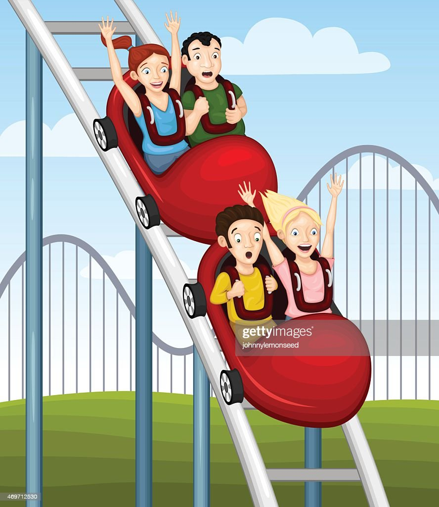 Cartoon illustrated of some young adults on a rollercoaster