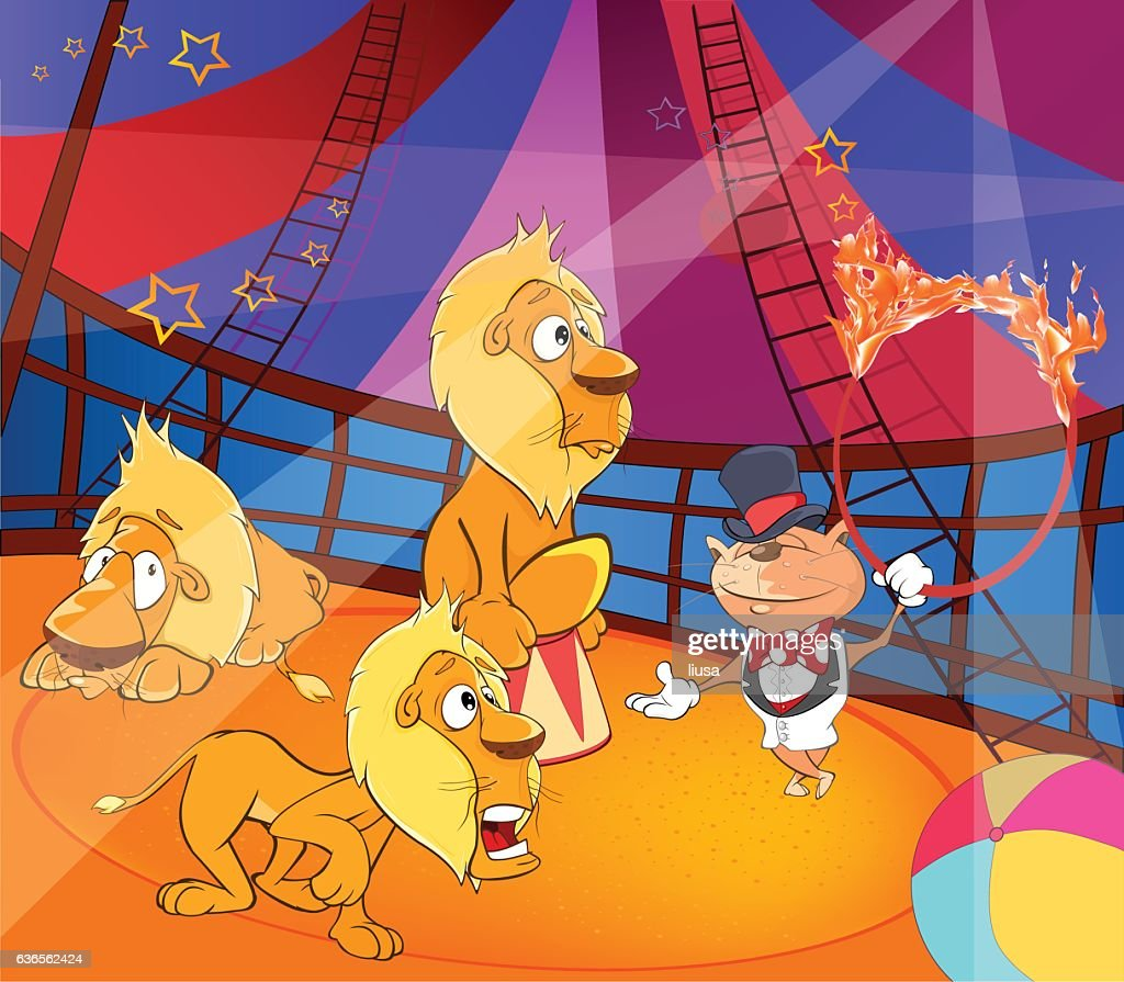 Cartoon Illustration circus performance of cat ringleader and lions