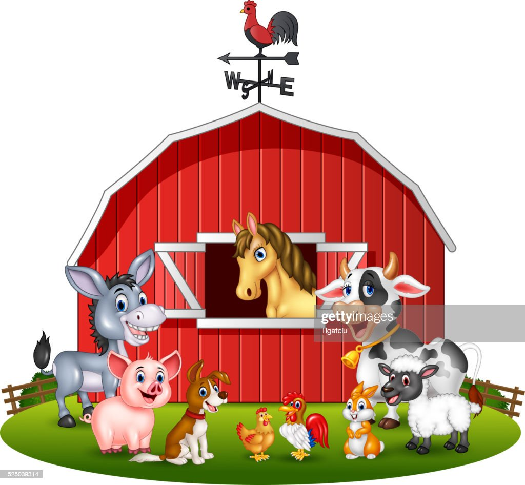 Cartoon illustration Farm background with animals