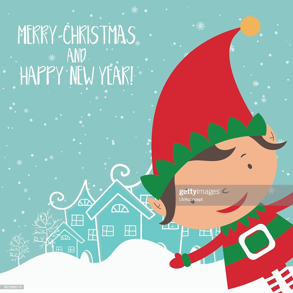 Cartoon illustration for holiday theme with elf