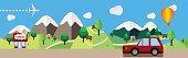 Cartoon illustration landscape colored flat