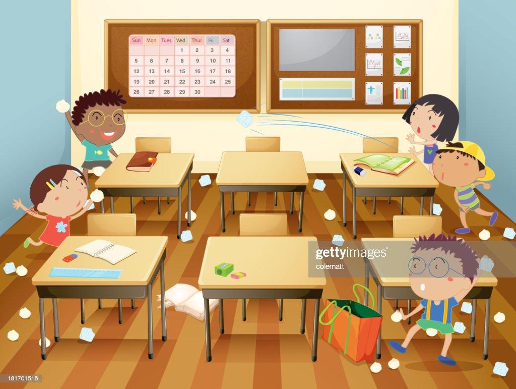 Cartoon illustration of a classroom paper fight