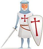 cartoon illustration of a crusader knight