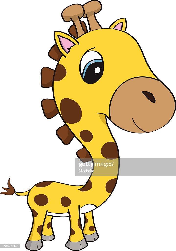 Illustration De Dessin Animé Dun Joli Bébé Girafe