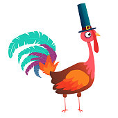 Cartoon illustration of a happy cute turkey character wearing a pilgrim hat. Vector illustration isolated. Design for print or party invitation