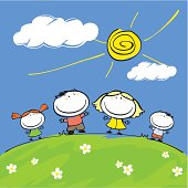 Cartoon illustration of a happy family of four on sunny day