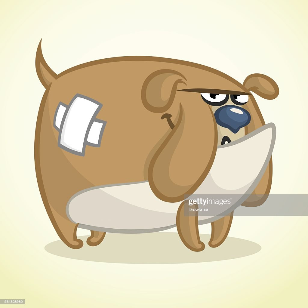 Cartoon illustration of a lovely bulldog. Vector dog character
