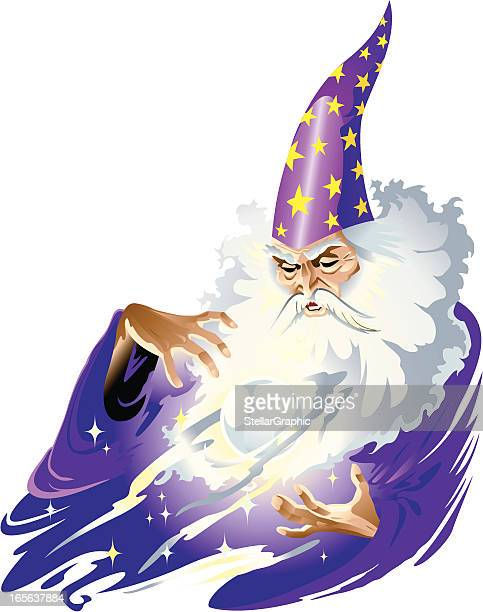 cartoon illustration of a magician man - wizard stock illustrations, clip art, cartoons, & icons