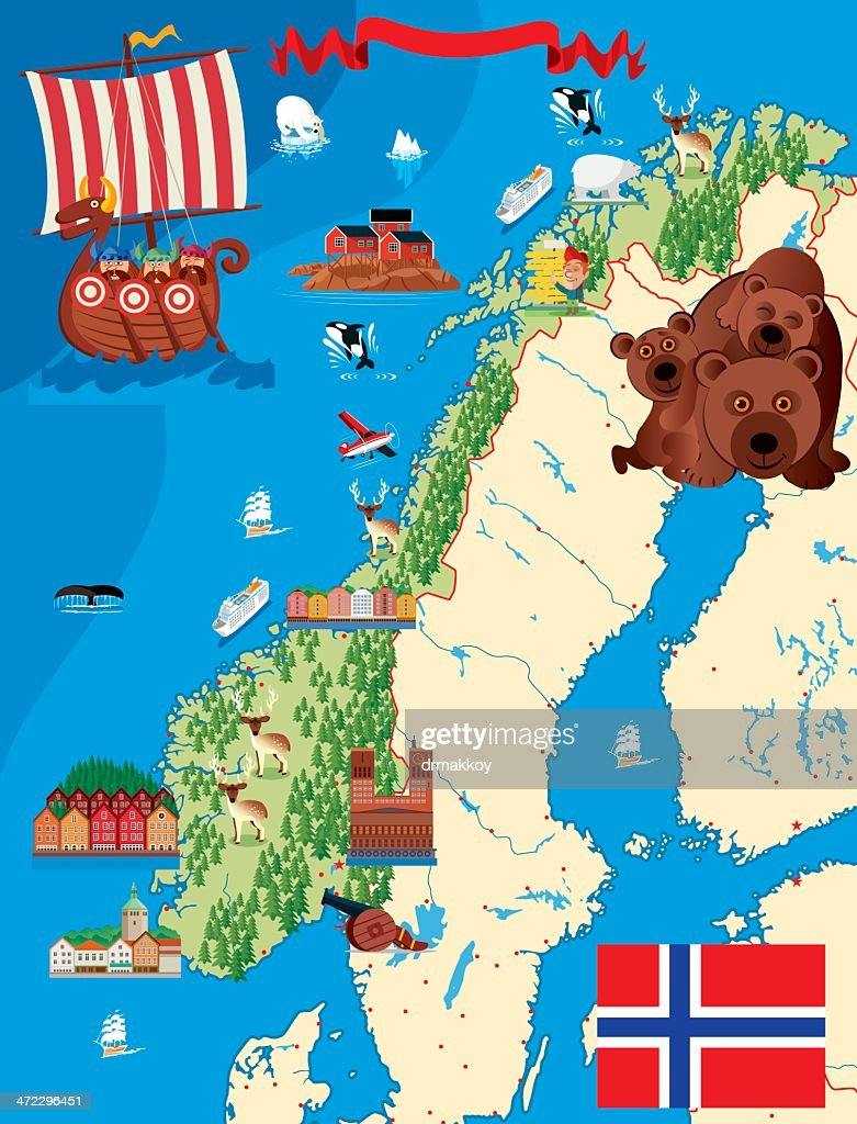 A Cartoon Illustration Of A Norway Map stock illustration - Getty Images