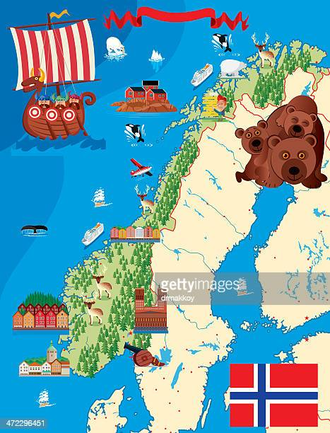 cartoon karte von norwegen - norwegen stock-grafiken, -clipart, -cartoons und -symbole