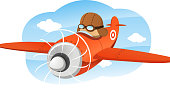 Cartoon illustration of a pilot flying a prop plane