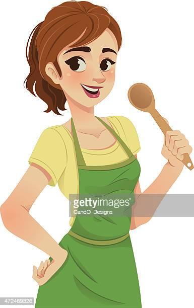 ilustrações, clipart, desenhos animados e ícones de mulher cozinha - chef de cozinha