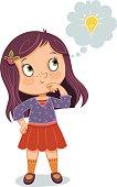 Cartoon illustration of a young girl having a bright idea