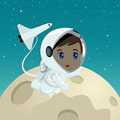 Cartoon illustration of an astronaut