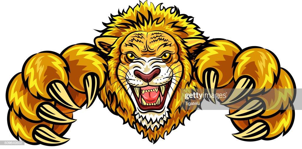 Cartoon illustration of angry lion mascot