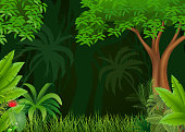 Cartoon illustration of beautiful natural background
