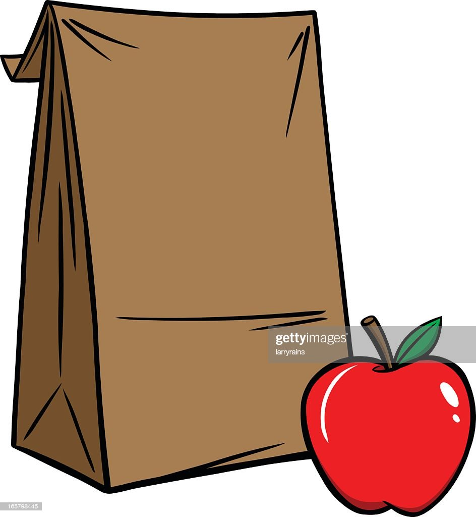 Cartoon illustration of brown bag lunch with red apple